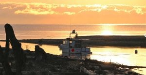 Boat and beach in sunset during shoulder season at Pacific Playgrounds Vancouver Island Resort