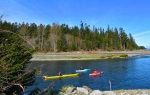 People paddling kayaks near Pacific Playgrounds